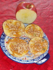 peanut butter and granola apples